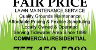 Fair Price Lawn Maintenance, Virginia Beach, Norfolk, Chesapeake