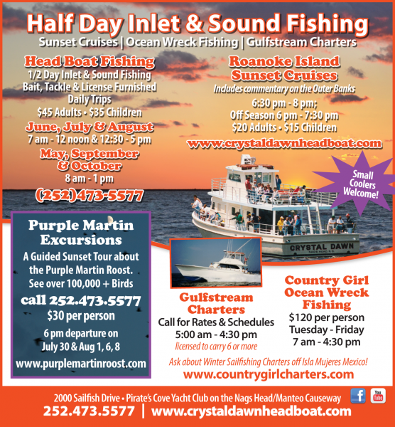 Outer Banks half day Soundside Fishing on the Crystal Dawn Headboat
